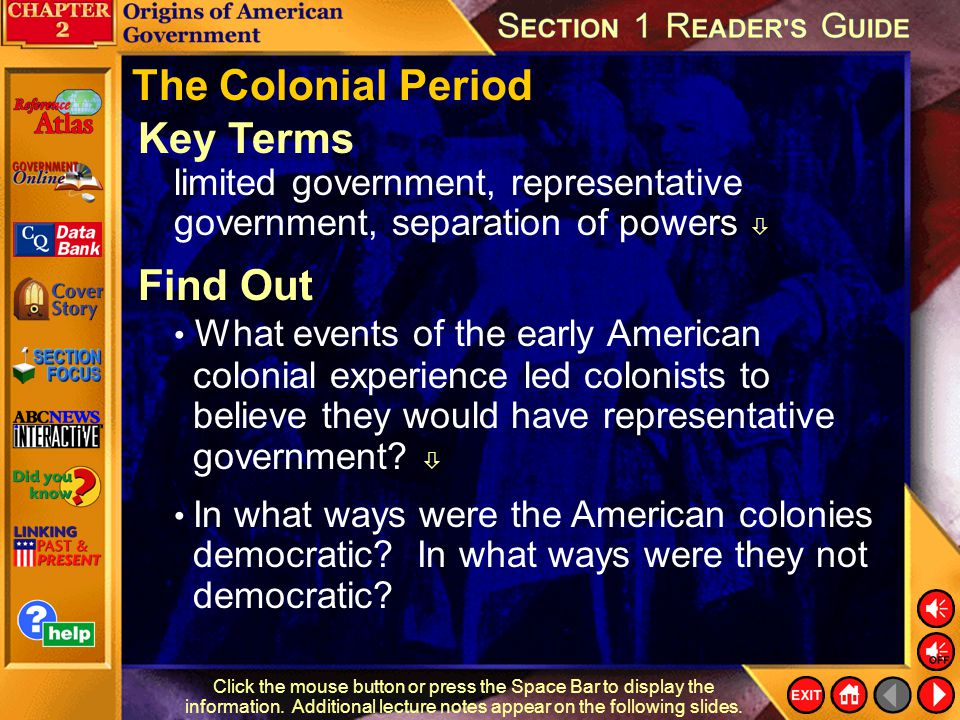 The Colonial Period Key Terms
