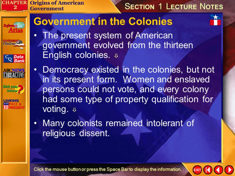 Government in the Colonies