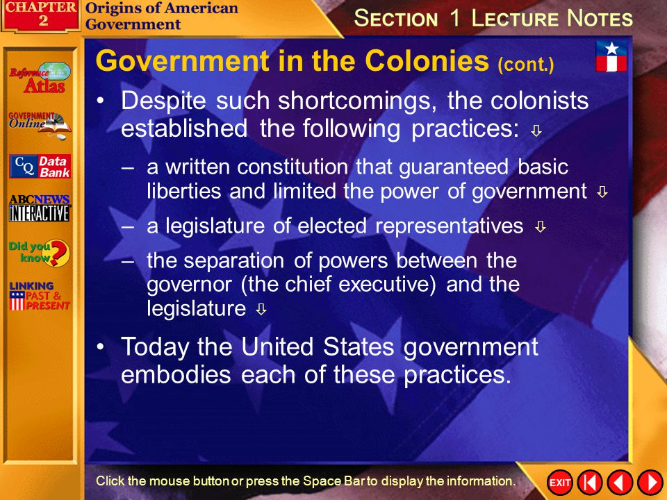 Government in the Colonies (cont.)