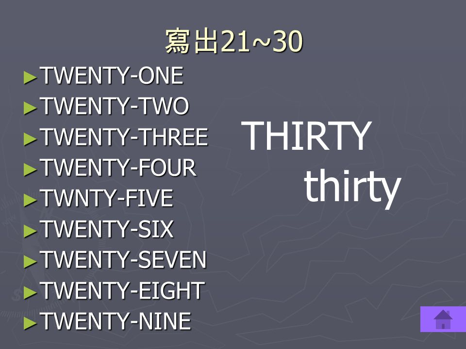 thirty THIRTY 寫出21~30 TWENTY-ONE TWENTY-TWO TWENTY-THREE TWENTY-FOUR