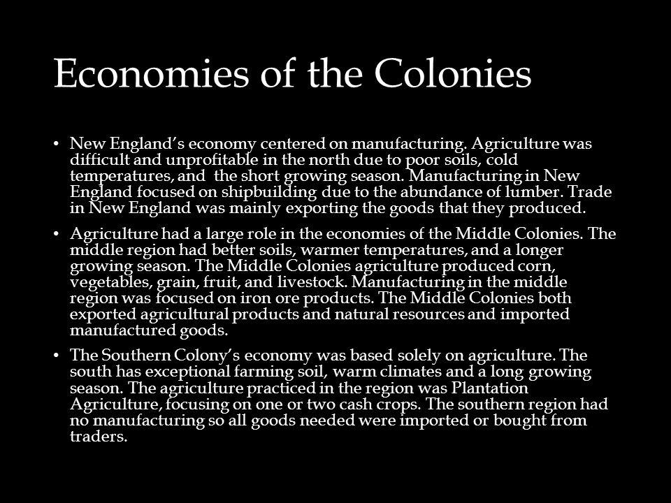 Economies of the Colonies