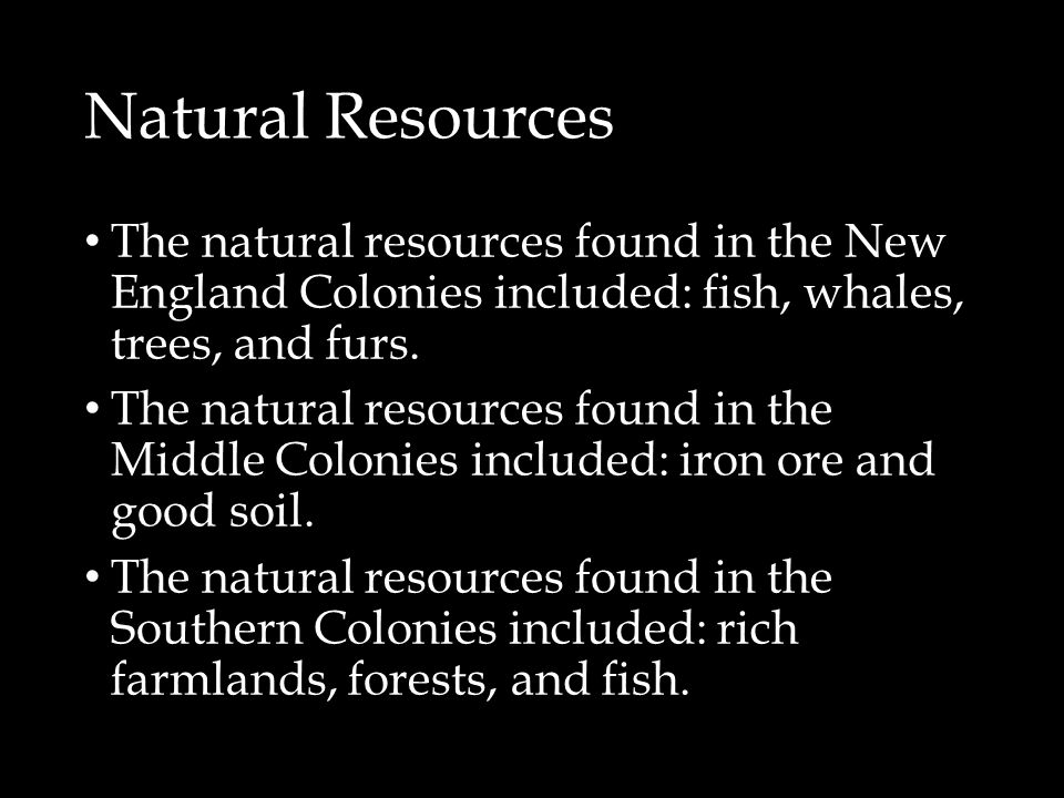 Natural Resources The natural resources found in the New England Colonies included: fish, whales, trees, and furs.