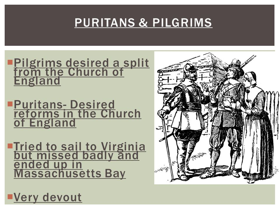 Puritans & Pilgrims Pilgrims desired a split from the Church of England. Puritans- Desired reforms in the Church of England.