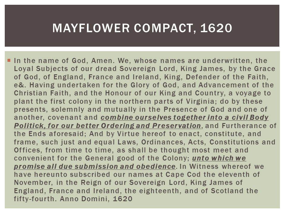 Mayflower Compact, 1620