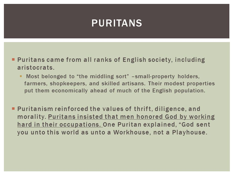 Puritans Puritans came from all ranks of English society, including aristocrats.