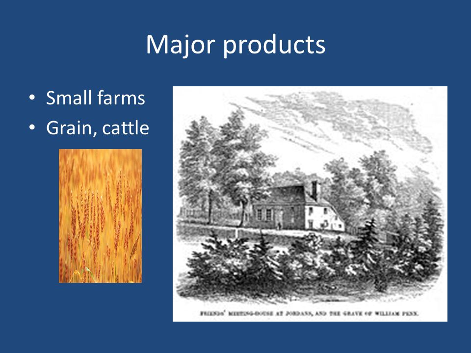 Major products Small farms Grain, cattle
