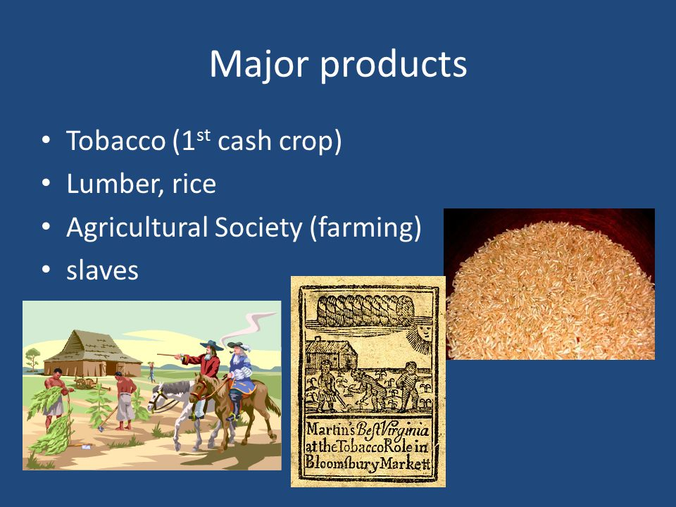 Major products Tobacco (1st cash crop) Lumber, rice