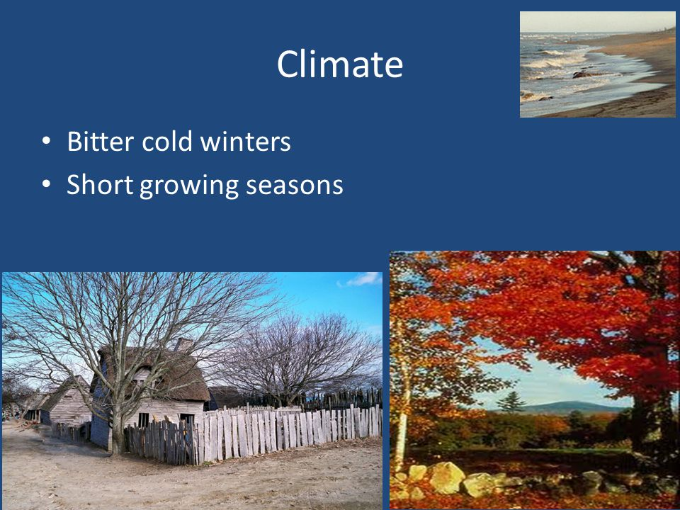 Climate Bitter cold winters Short growing seasons