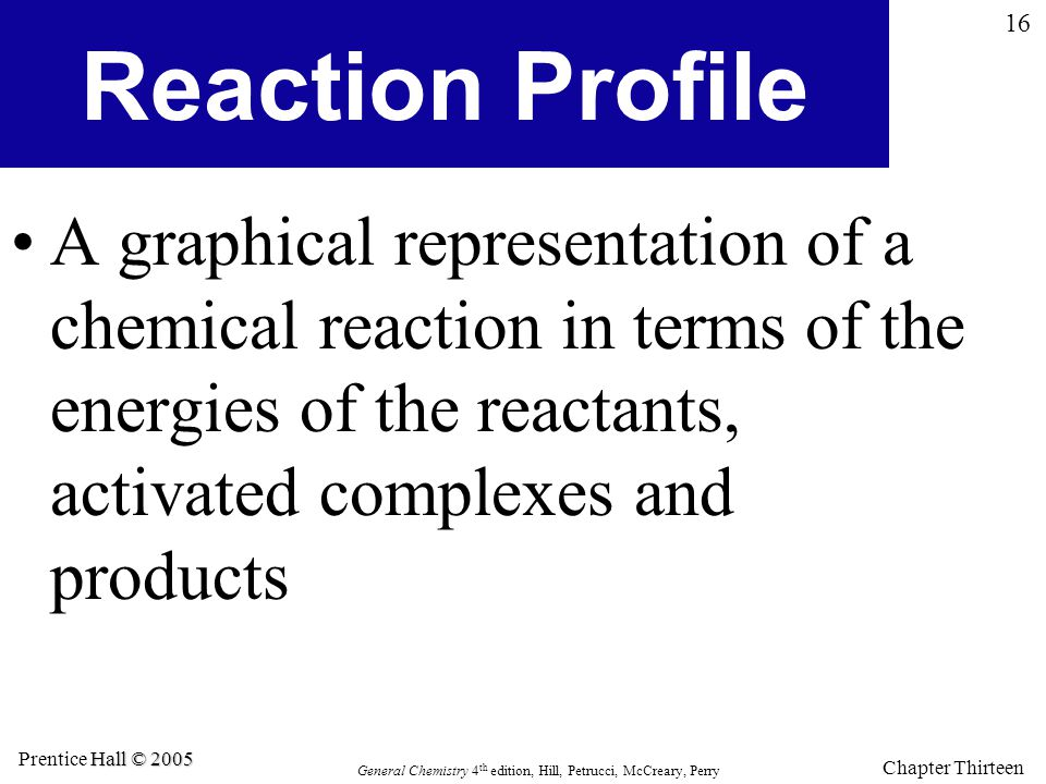Reaction Profile A graphical representation of a chemical reaction in terms of the energies of the reactants, activated complexes and products.
