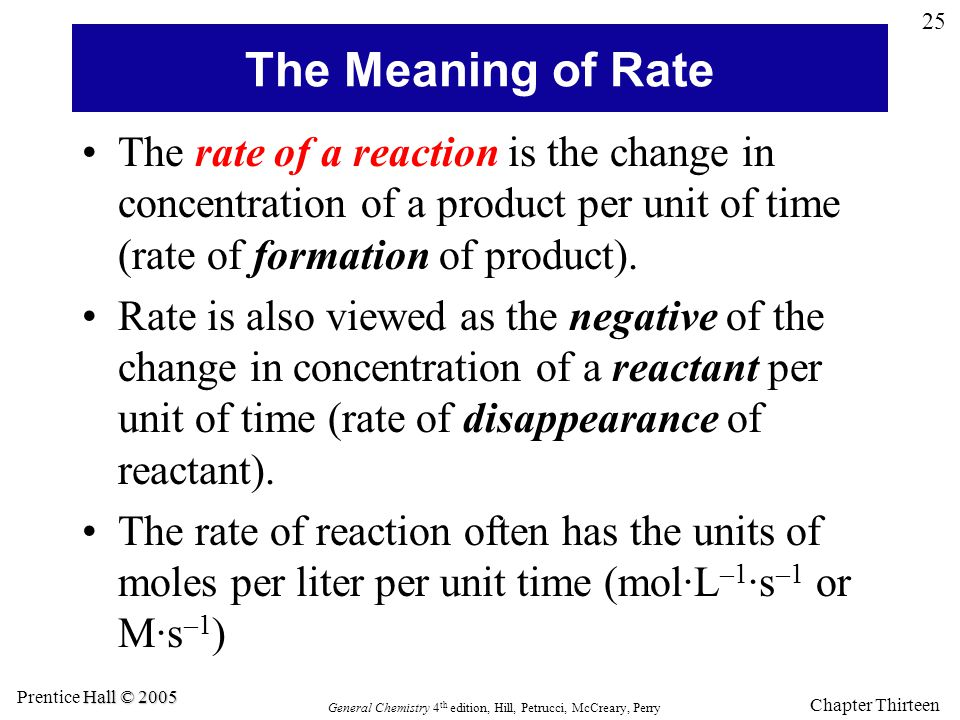 The Meaning of Rate The rate of a reaction is the change in concentration of a product per unit of time (rate of formation of product).