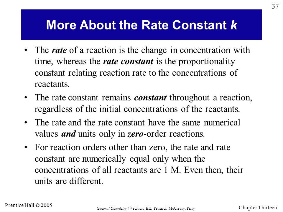 More About the Rate Constant k