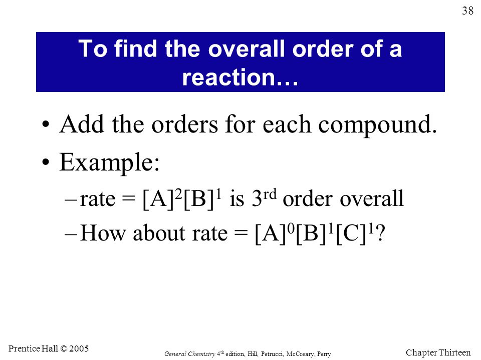 To find the overall order of a reaction…