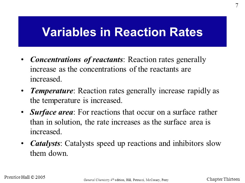 Variables in Reaction Rates