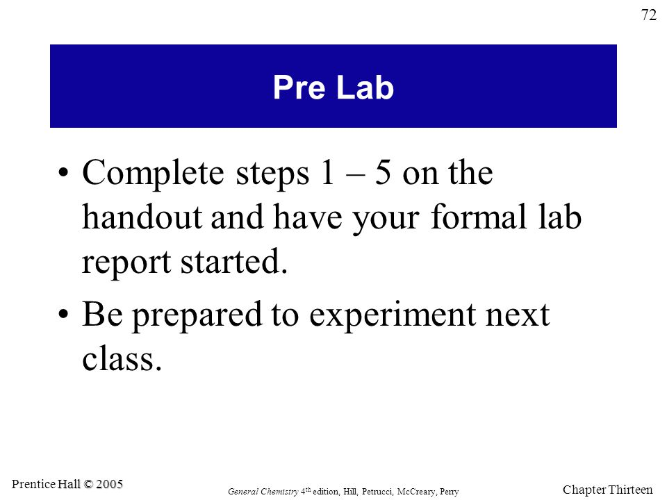 Be prepared to experiment next class.