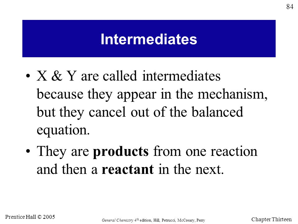 Intermediates X & Y are called intermediates because they appear in the mechanism, but they cancel out of the balanced equation.