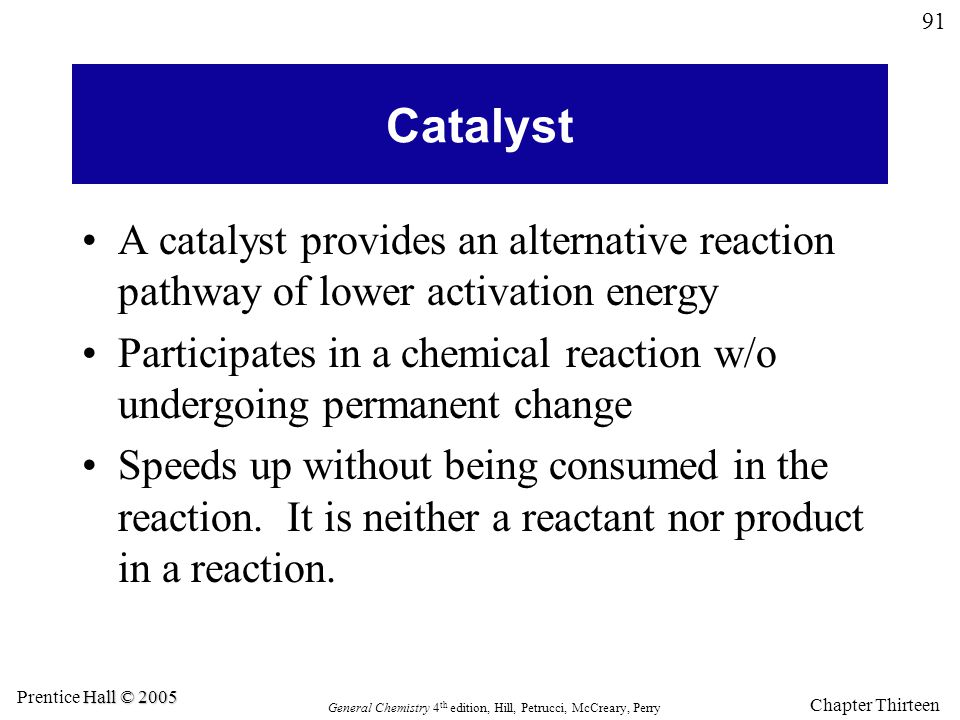 Catalyst A catalyst provides an alternative reaction pathway of lower activation energy.