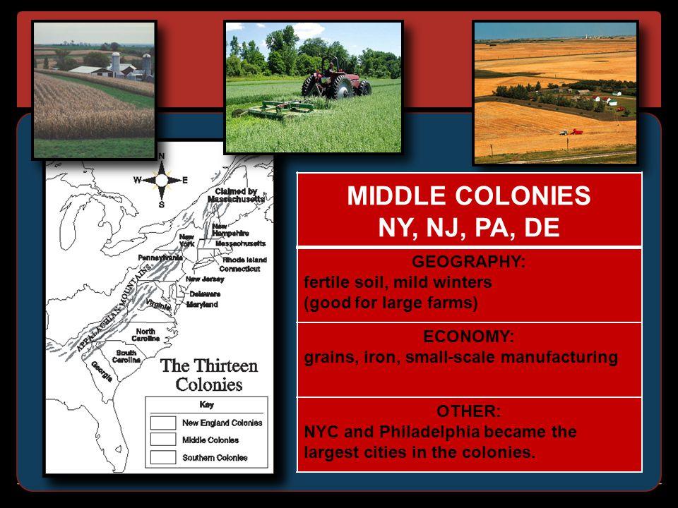 MIDDLE COLONIES NY, NJ, PA, DE