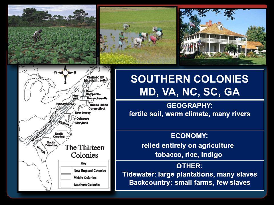 SOUTHERN COLONIES MD, VA, NC, SC, GA