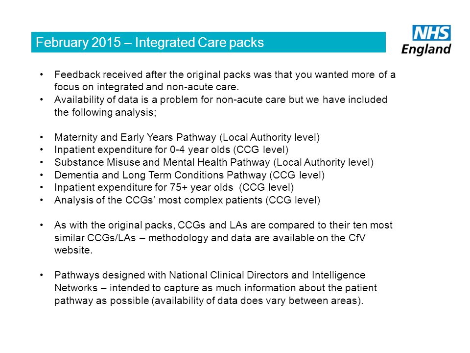 February 2015 – Integrated Care packs