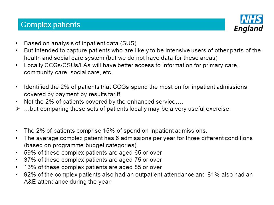 Complex patients Based on analysis of inpatient data (SUS)