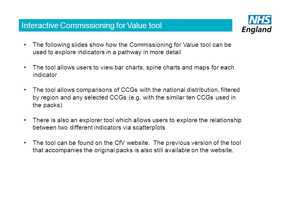 Interactive Commissioning for Value tool