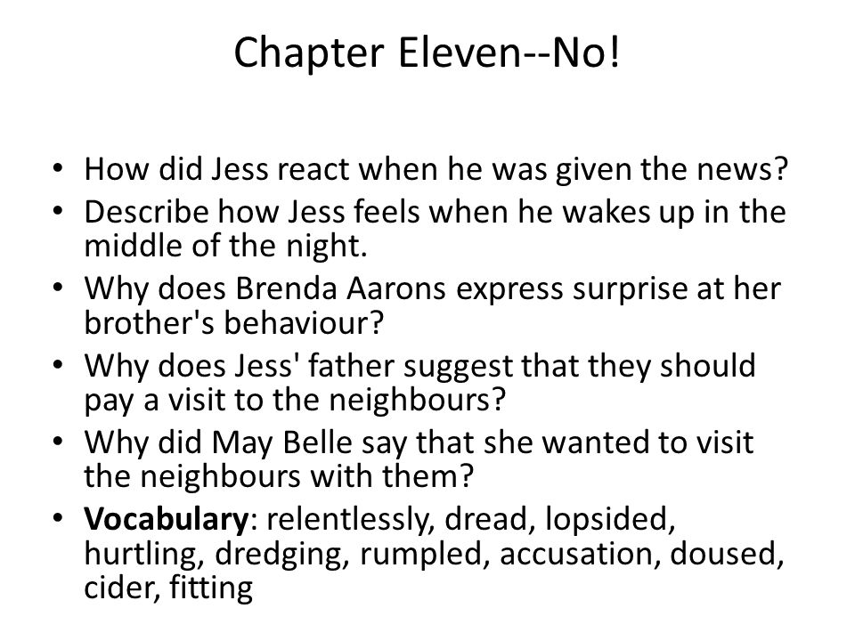 Chapter Eleven--No! How did Jess react when he was given the news