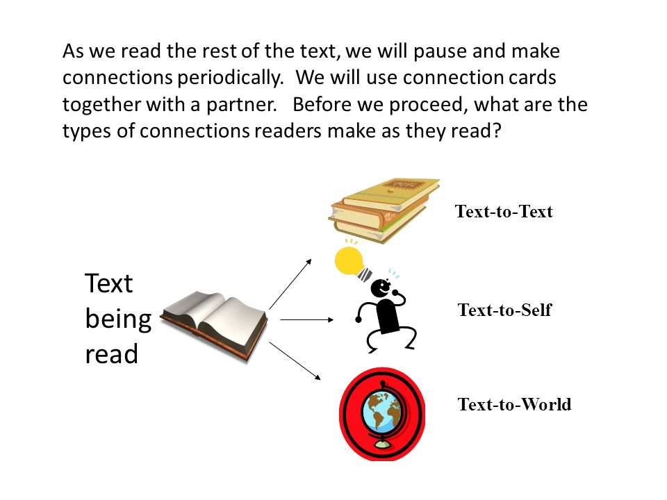 As we read the rest of the text, we will pause and make connections periodically. We will use connection cards together with a partner. Before we proceed, what are the types of connections readers make as they read