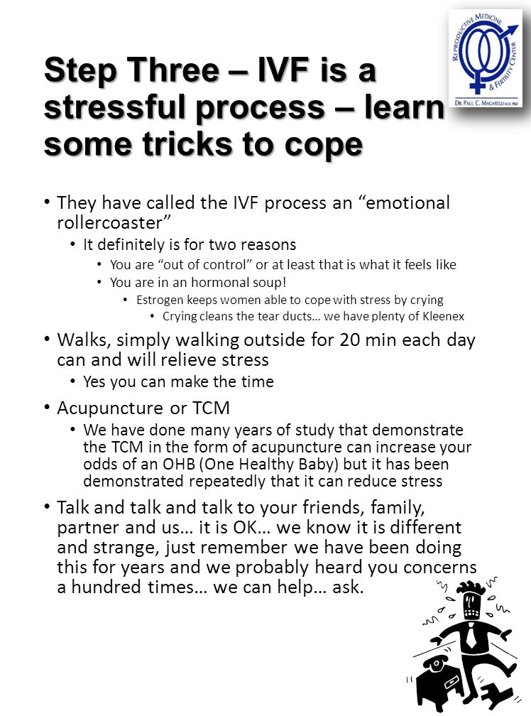 Step Three – IVF is a stressful process – learn some tricks to cope