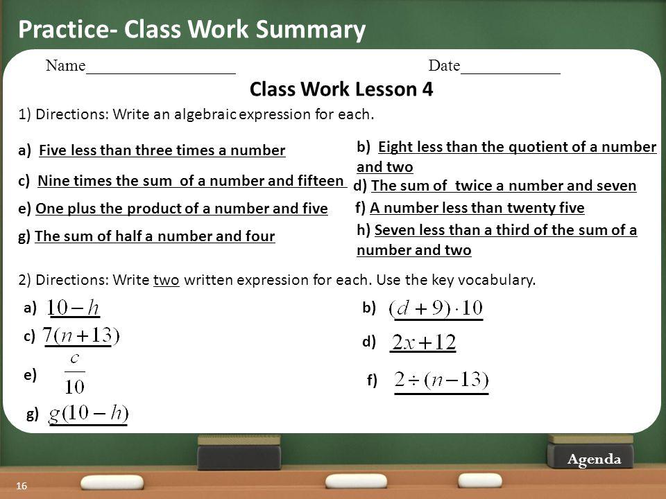 Practice- Class Work Summary