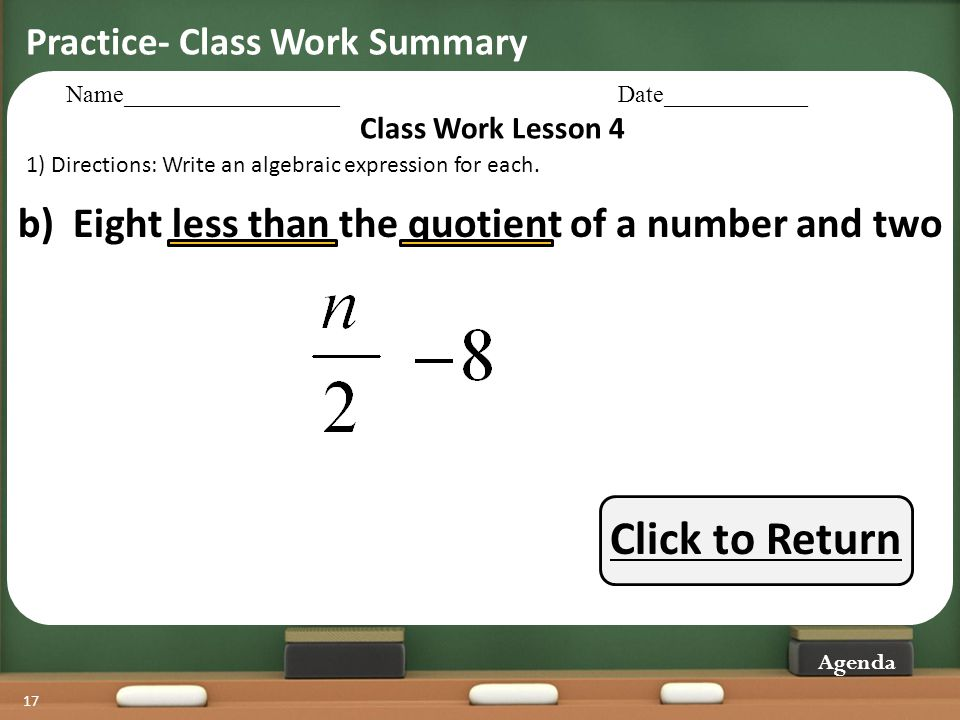 Click to Return b) Eight less than the quotient of a number and two