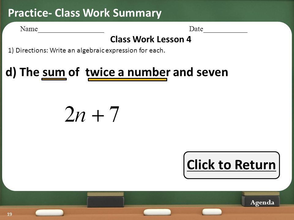 Click to Return d) The sum of twice a number and seven