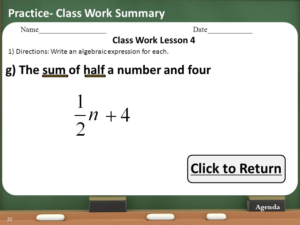 Click to Return g) The sum of half a number and four