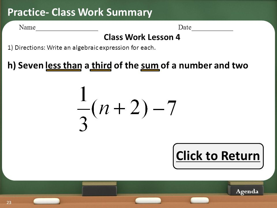 Click to Return Practice- Class Work Summary