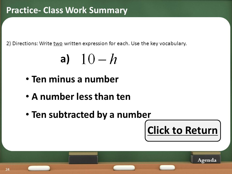a) Click to Return Ten minus a number A number less than ten