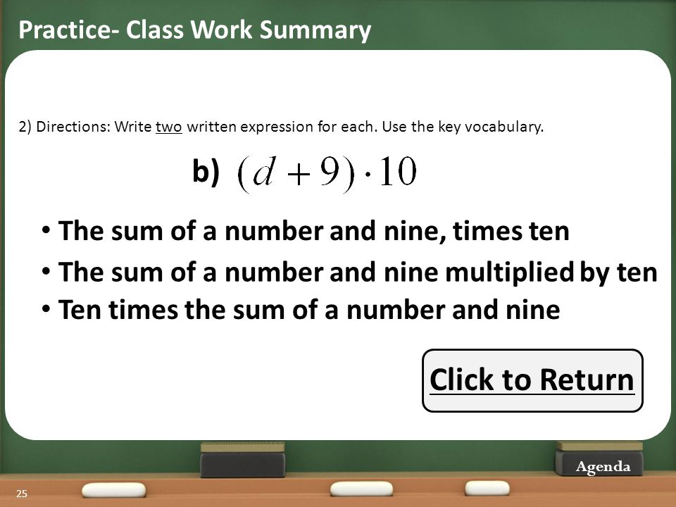 b) Click to Return The sum of a number and nine, times ten
