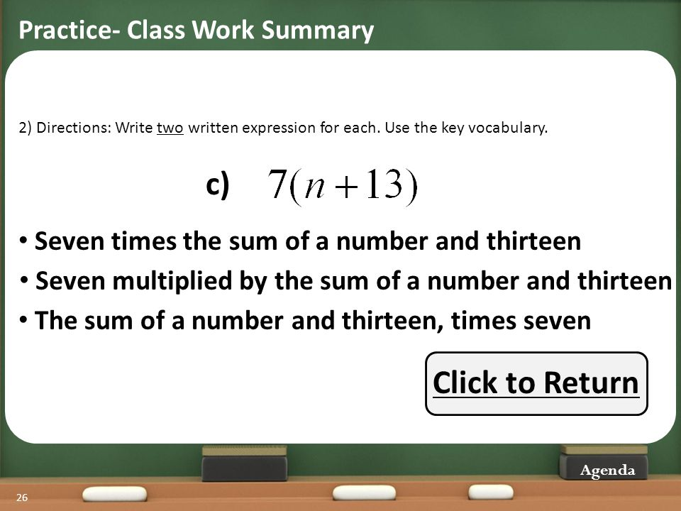 c) Click to Return Practice- Class Work Summary