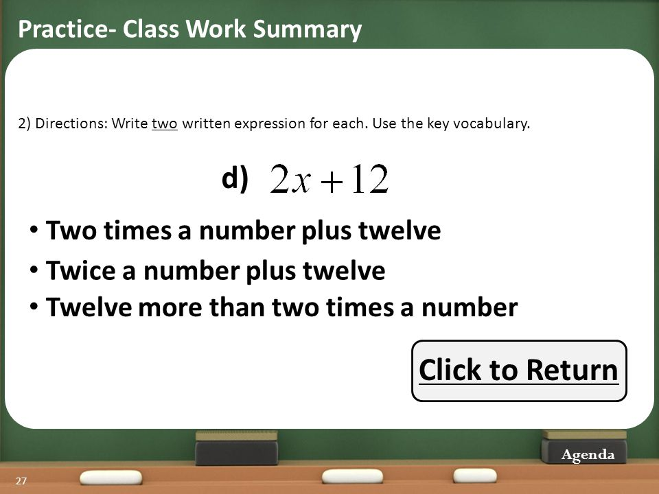 d) Click to Return Two times a number plus twelve