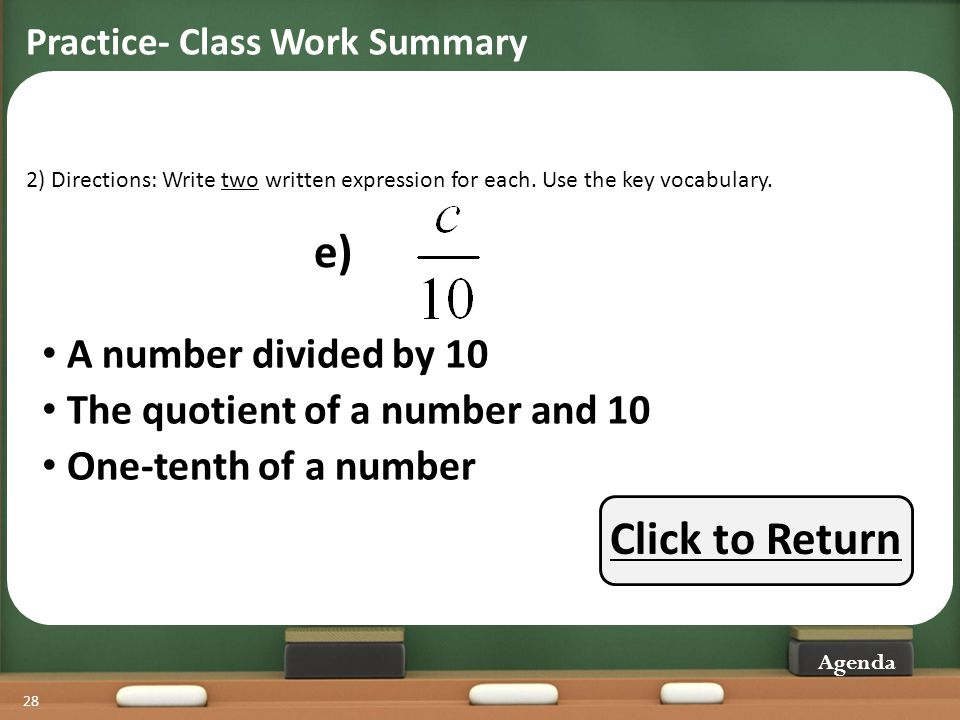e) Click to Return A number divided by 10