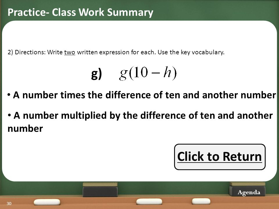 g) Click to Return Practice- Class Work Summary