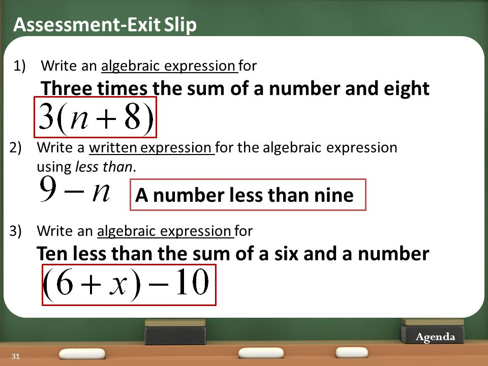 Assessment-Exit Slip A number less than nine