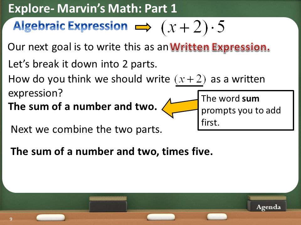 Explore- Marvin's Math: Part 1 Algebraic Expression