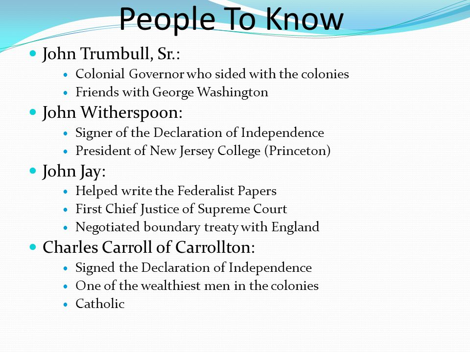 People To Know John Trumbull, Sr.: John Witherspoon: John Jay: