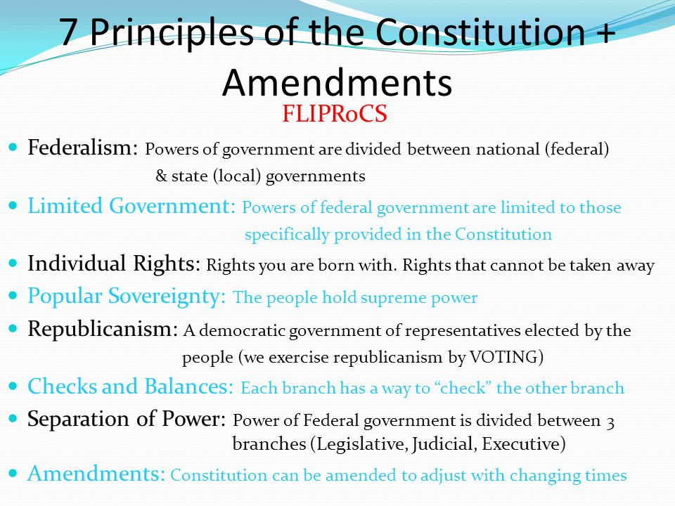 7 Principles of the Constitution + Amendments