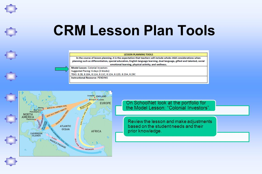 CRM Lesson Plan Tools On SchoolNet look at the portfolio for the Model Lesson: Colonial Investors .