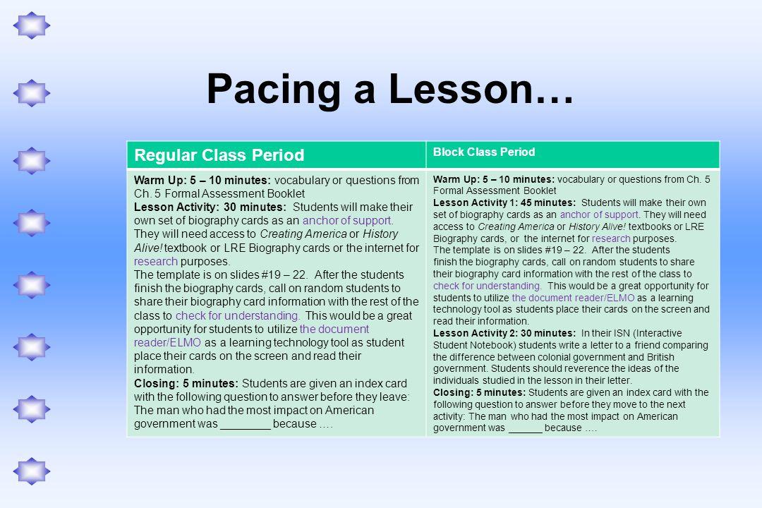 Pacing a Lesson… Regular Class Period Block Class Period