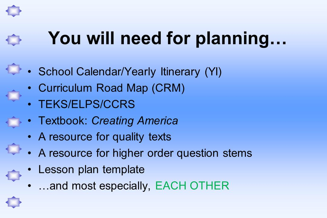 You will need for planning…