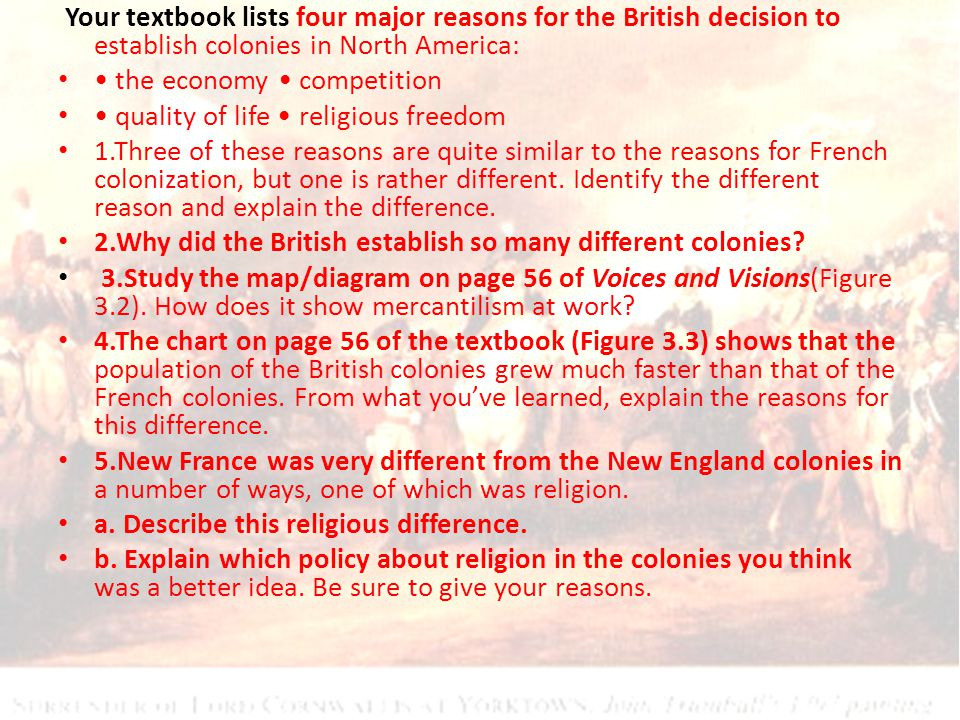 Your textbook lists four major reasons for the British decision to establish colonies in North America: