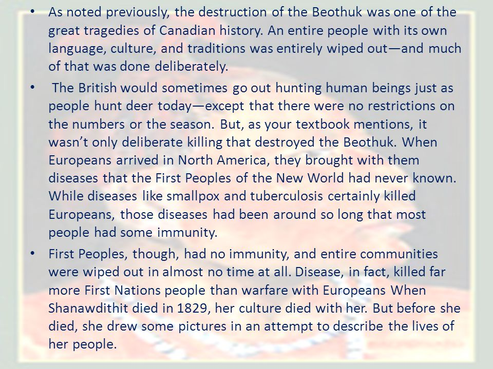 As noted previously, the destruction of the Beothuk was one of the great tragedies of Canadian history. An entire people with its own language, culture, and traditions was entirely wiped out—and much of that was done deliberately.