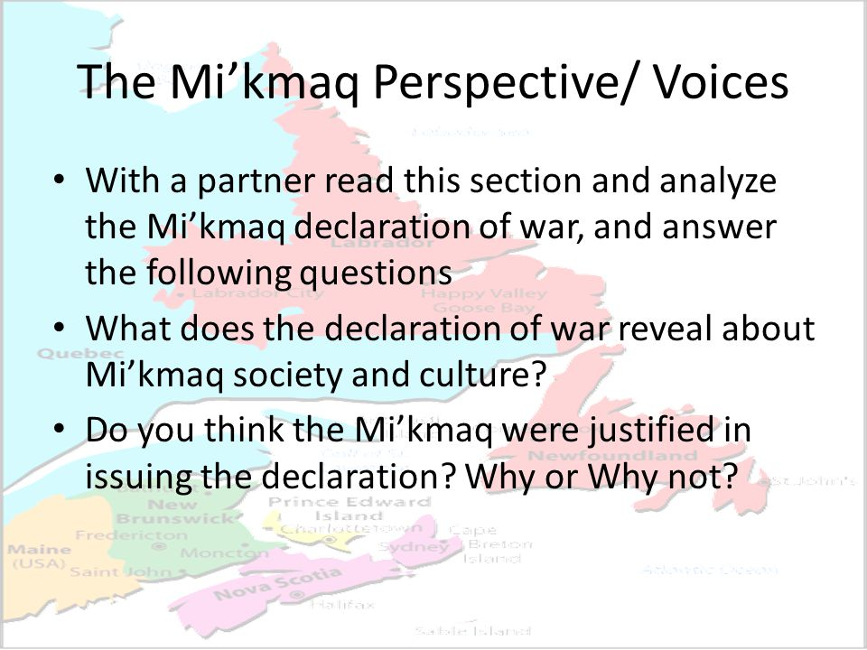 The Mi'kmaq Perspective/ Voices