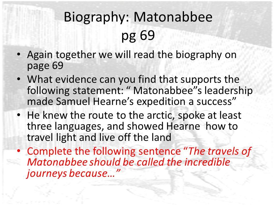 Biography: Matonabbee pg 69
